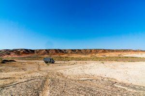 Gobi Landscape With Unimog